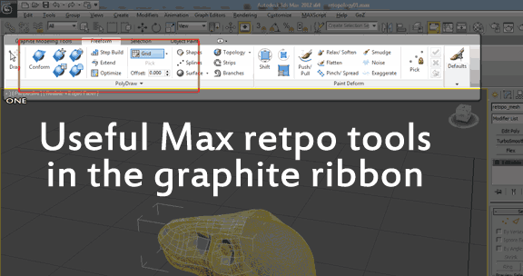The ribbon with useful retopology tools highlighted